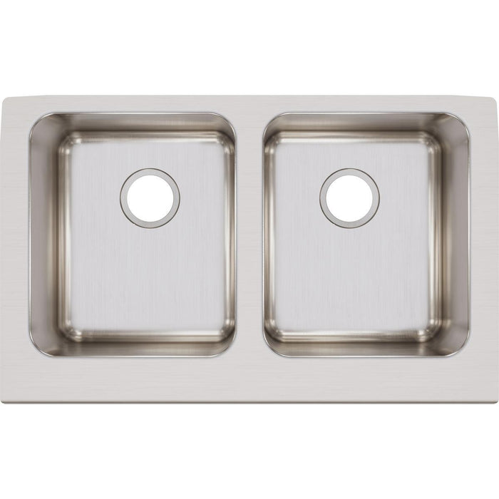 "Elkay Lustertone Classic Stainless Steel 33"" x 20-1/2"" x 7-7/8"", Equal Double Bowl Farmhouse Sink-DirectSinks"