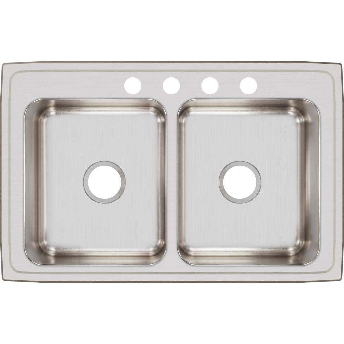 "Elkay Lustertone Classic Stainless Steel 33"" x 21-1/4"" x 7-7/8"", Equal Double Bowl Drop-in Sink-DirectSinks"