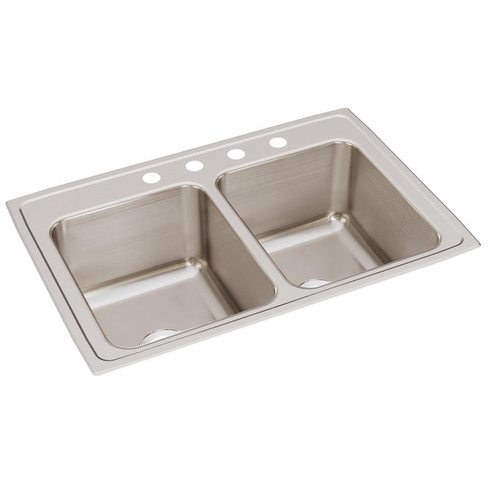 "Elkay Lustertone Classic Stainless Steel 33"" x 22"" x 12-1/8"", Equal Double Bowl Drop-in Sink-DirectSinks"