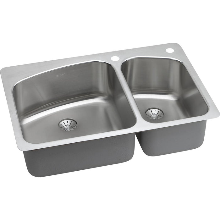 "Elkay Lustertone Classic Stainless Steel 33"" x 22"" x 9"", 60/40 Double Bowl Dual Mount Sink with Perfect Drain-DirectSinks"