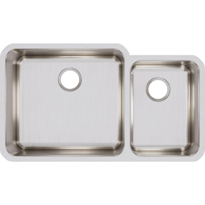 "Elkay Lustertone Classic Stainless Steel, 35-1/4"" x 20-1/2"" x 9-7/8"", Offset 60/40 Double Bowl Undermount Sink-DirectSinks"
