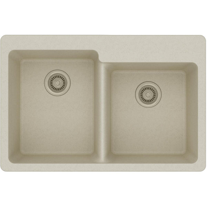 "Elkay Quartz Classic 33"" x 22"" x 9-1/2"", Offset Double Bowl Drop-in Sink-DirectSinks"