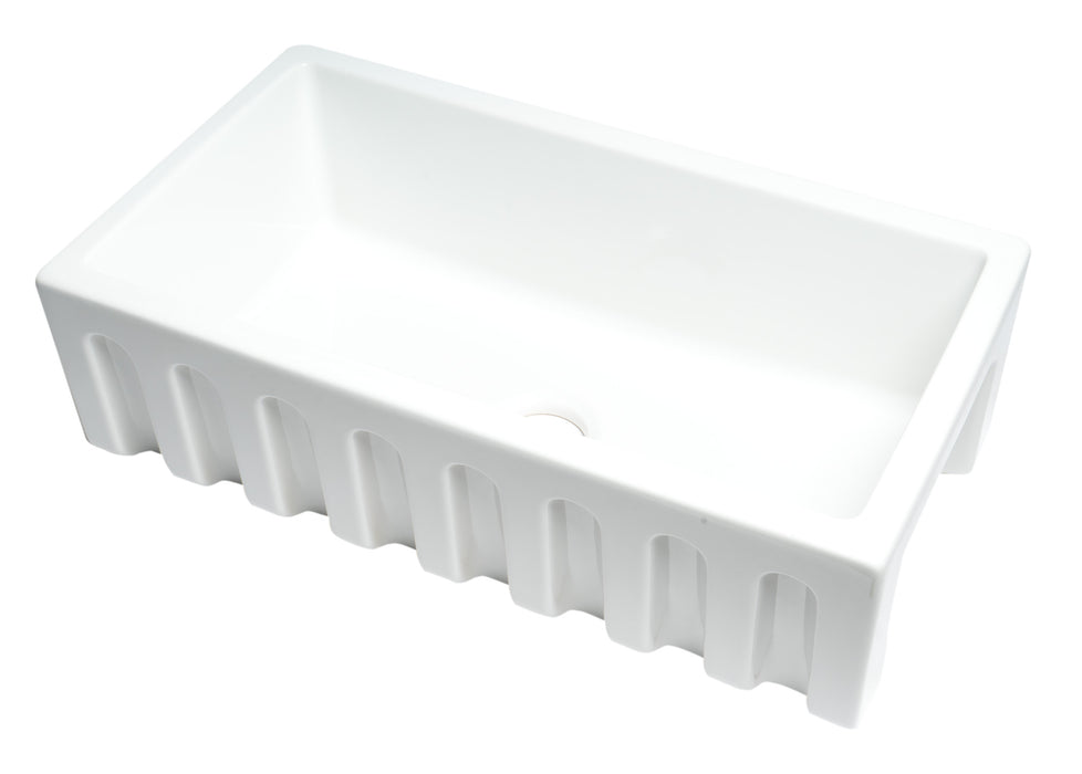 "Alfi Brand 33"" x 18"" Reversible Fluted/Smooth Single Bowl Fireclay Farm Sink-DirectSinks"