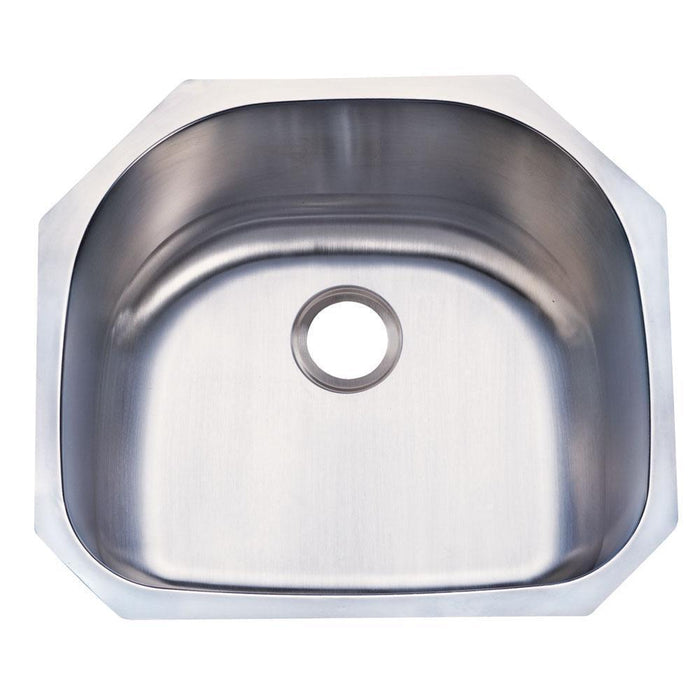 Gourmetier KUD24219BN Manhattan Stainless Steel Single Bowl Undermount Kitchen Sink, Satin Nickel-Kitchen Sinks-Free Shipping-Directsinks.