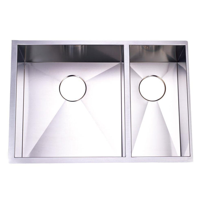 Gourmetier KUS292010DBNL Towne Square Stainless Steel Double Bowl Undermount Kitchen Sink, Satin Nickel-Kitchen Sinks-Free Shipping-Directsinks.