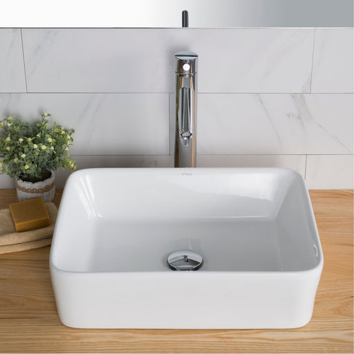 "KRAUS Elavo Modern Rectangular Vessel White Porcelain Bathroom Sink, 19 "" (2-Pack)"