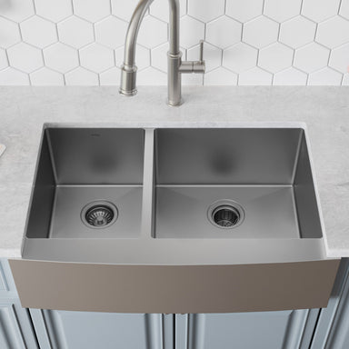 KRAUS Standart PRO™ 33-inch 16 Gauge 60/40 Double Bowl Stainless Steel Farmhouse Kitchen Sink in Stainless Steel-Kitchen Sinks-KRAUS
