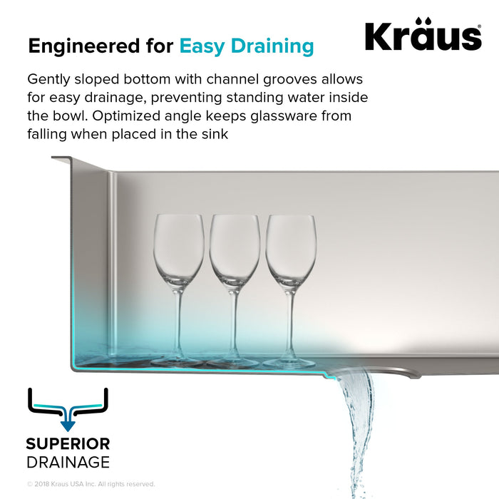 KRAUS Standart PRO™ 33-inch 16 Gauge 60/40 Double Bowl Stainless Steel Farmhouse Kitchen Sink in Stainless Steel