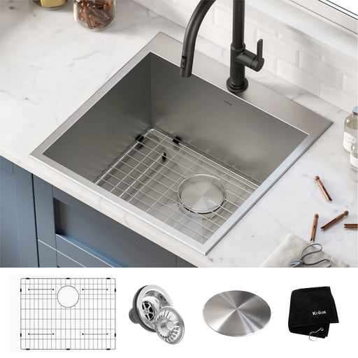 "KRAUS 22"" Dual Mount 16 Gauge Stainless Steel Laundry Utility Sink"
