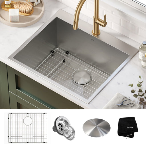 "KRAUS 25"" Dual Mount 16 Gauge Stainless Steel Laundry Utility Sink"