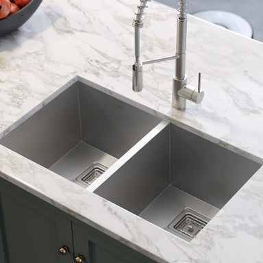 KRAUS Pax™ Zero-Radius 31.5 Inch Handmade Undermount 50/50 Double Bowl 16 Gauge Stainless Steel Kitchen Sink with NoiseDefend™ Soundproofing-Kitchen Sinks-KRAUS