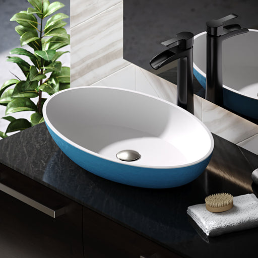 R11-5001-Azure Contemporary Stone Composite Oval Vessel Sink