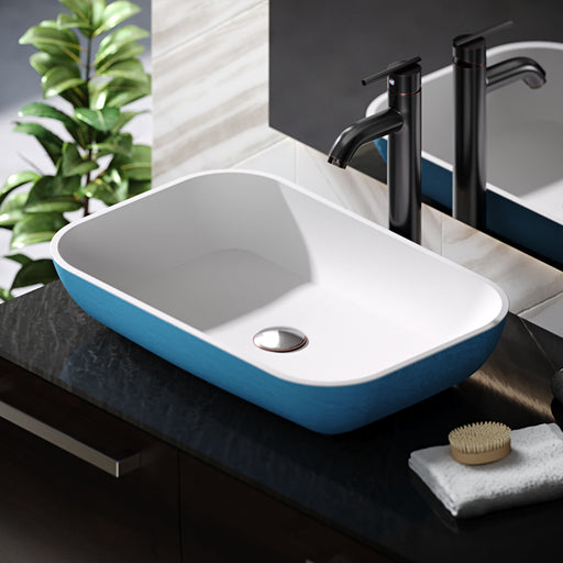 R11-5002-Azure Cylindrical Stone Composite Rectangular Vessel Sink