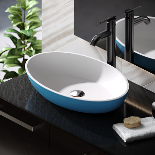 R11-5001-Azure Cylindrical Stone Composite Oval Vessel Sink