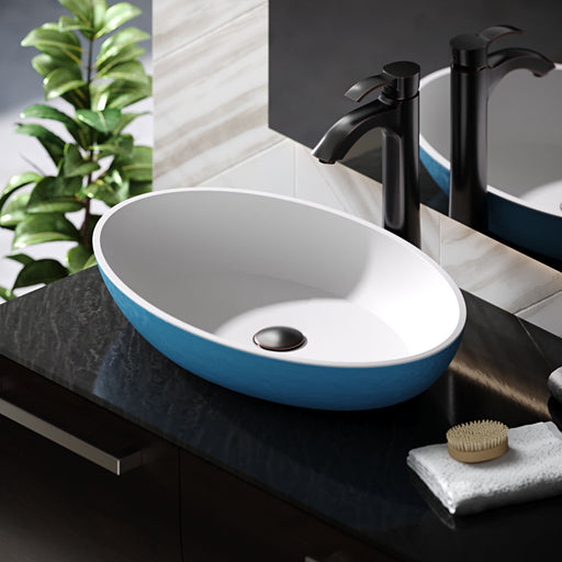 R11-5001-Azure Curvaceous Stone Composite Oval Vessel Sink
