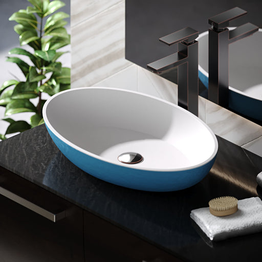 R11-5001-Azure Angular Stone Composite Oval Vessel Sink