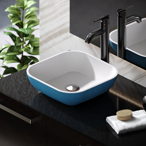 R11-5003-Azure Cylindrical Stone Composite Square Vessel Sink