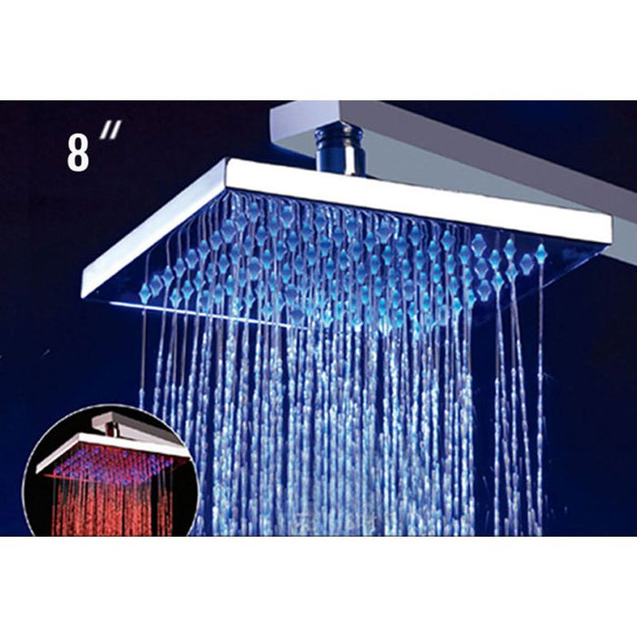 "Alfi LED5001 8"" Square Multi Color LED Rain Shower Head-DirectSinks"