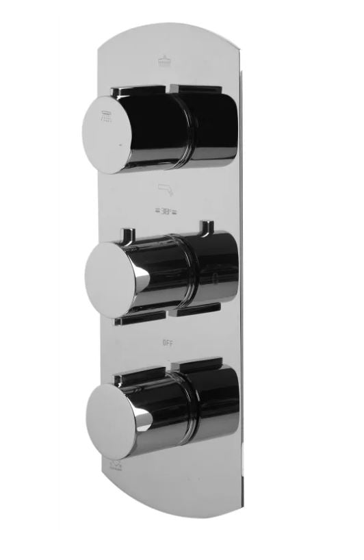AB4101-PC Polished Chrome Concealed 3-Way Thermostatic Valve Shower Mixer /w Round Knobs
