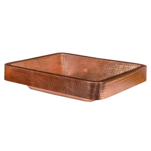 "Premier Copper Products 19"" Rectangle Skirted Vessel Hammered Copper Sink in Polished Copper-DirectSinks"