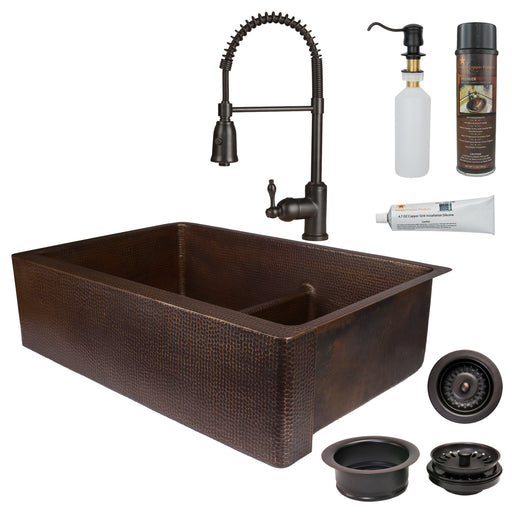Premier Copper Products - KSP4_KA60DB33229-SD5 Kitchen Sink, Faucet and Accessories Package-DirectSinks