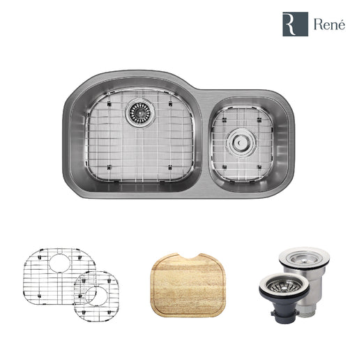 R1-1002-16 Offset Stainless Steel Kitchen Sink in 16-Gauge with Cutting Board, Two Grids, and Two Strainers-DirectSinks