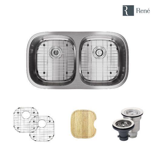 R1-1003-16 Double Bowl Stainless Steel Kitchen Sink in 16-Gauge with Cutting Board, Two Grids, and Two Strainers-DirectSinks