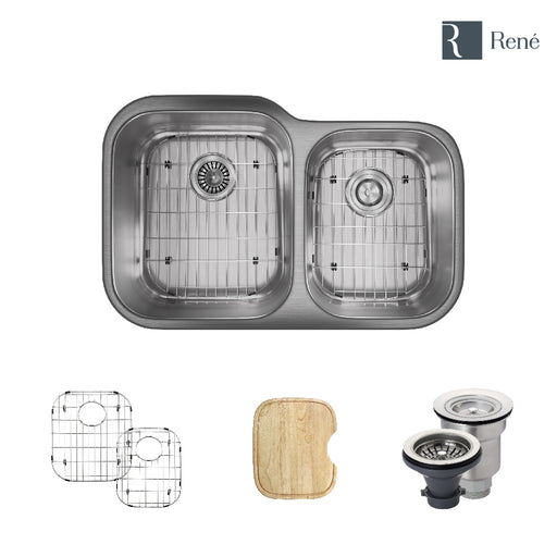 R1-1004-18 Offset Stainless Steel Kitchen Sink in 18-Gauge with Cutting Board, Two Grids, and Two Strainers-DirectSinks