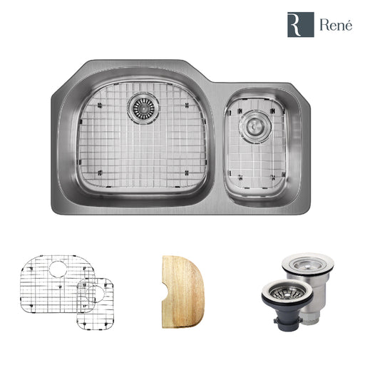 R1-1007-18 Offset Stainless Steel Kitchen Sink in 18-Gauge with Cutting Board, Two Grids, and Two Strainers-DirectSinks