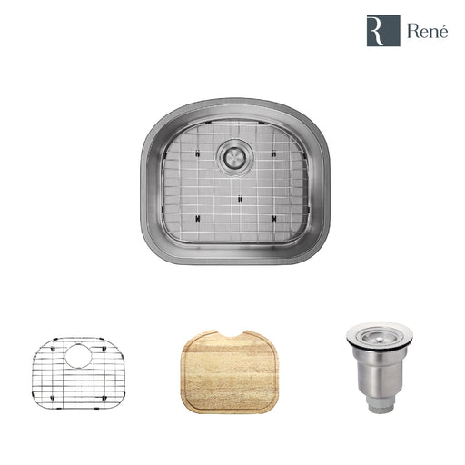 R1-1017-16 D-Bowl Stainless Steel Kitchen Sink in 16-Gauge with Cutting Board, Grid, and Basket Strainer, undermount-DirectSinks