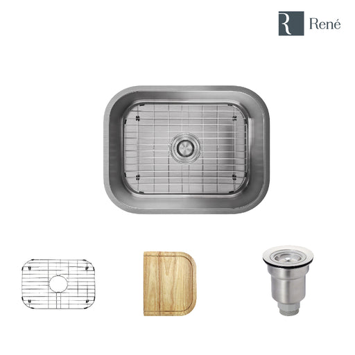 R1-1018-18 Single Bowl Stainless Steel Kitchen Sink in 18-Gauge with Cutting Board, Grid, and Basket Strainer-DirectSinks