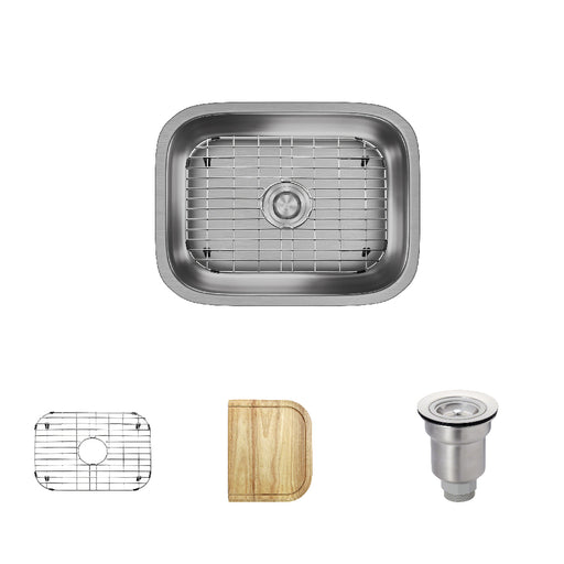 R1-1018-ADA Single Bowl Stainless Steel Kitchen Sink in 18-Gauge with Cutting Board, Grid, and Basket Strainer-DirectSinks