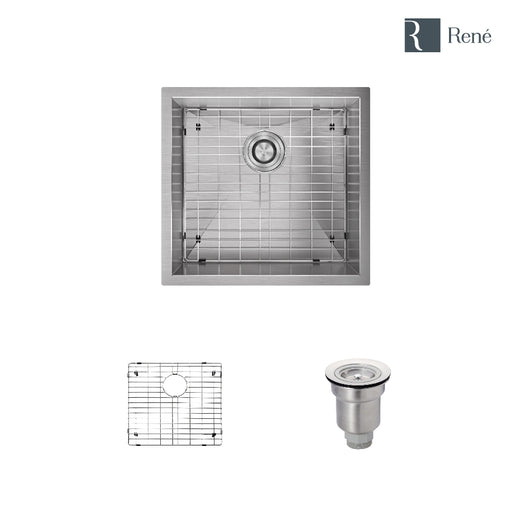 R1-1019-16 Rectangular Stainless Steel Utility Sink in 16-Gauge with Grid and Basket Strainer-DirectSinks