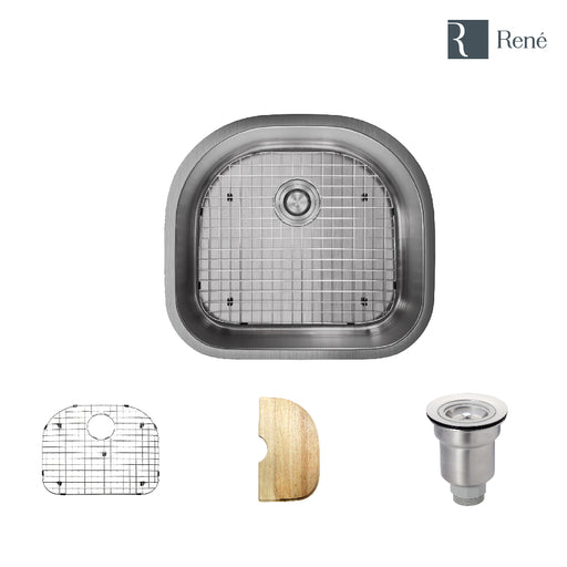 R1-1020-16 D-Bowl Stainless Steel Kitchen Sink in 16-Gauge with Cutting Board, Grid, and Basket Strainer-DirectSinks