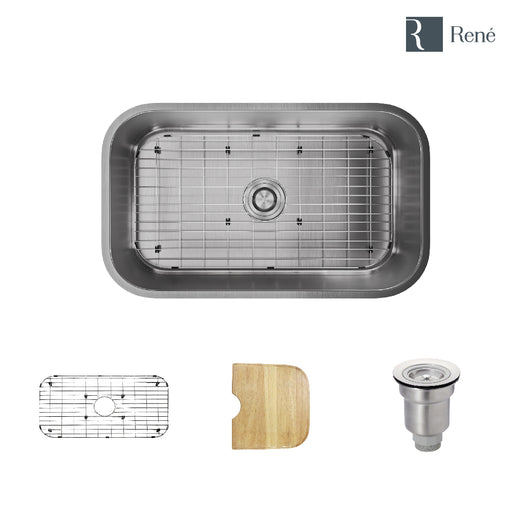 R1-1021-18 Stainless Steel Kitchen Sink in 18-Gauge with Cutting Board, Grid, and Basket Strainer-DirectSinks