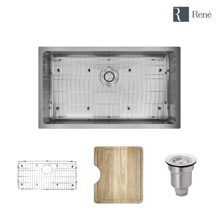 "R1-1022S-18 Undermount 3/4"" Radius Stainless Steel Kitchen Sink in 18-Gauge with Cutting Board, Grid, and Basket Strainer-DirectSinks"