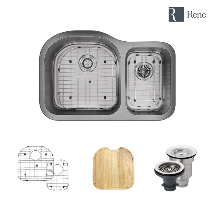 R1-1023-18 Stainless Steel Kitchen Sink in 18-Gauge with Cutting Board, Two Grids, and Two Strainers-DirectSinks