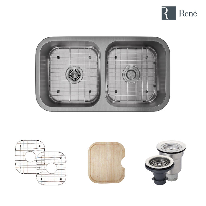 R1-1024A-16 Double Bowl Undermount Stainless Steel Kitchen Sink in 16-Gauge with Cutting Board, Two Grids, and Two Strainers-DirectSinks