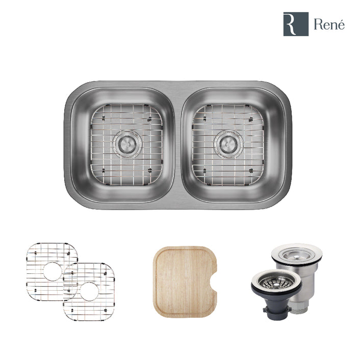 R1-1024A-ADA Double Bowl Stainless Steel Kitchen Sink in 18-Gauge with Cutting Board, Two Grids, and Two Strainers-DirectSinks