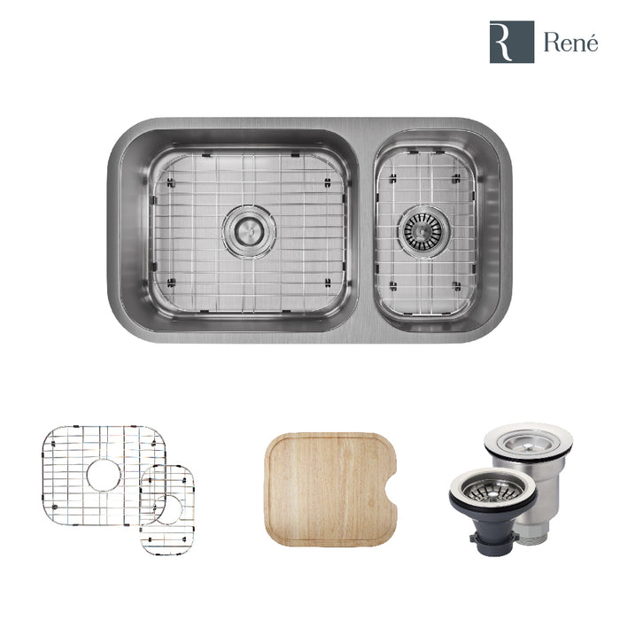 R1-1024BL-16 Offset Double Bowl Undermount Stainless Steel Kitchen Sink in 16-Gauge with Cutting Board, Two Grids, and Two Strainers-DirectSinks