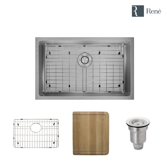 "R1-1035S-18 Single Bowl 3/4"" Radius Stainless Steel Kitchen Sink in 18-Gauge with Cutting Board, Grid, and Basket Strainer, Undermount-DirectSinks"