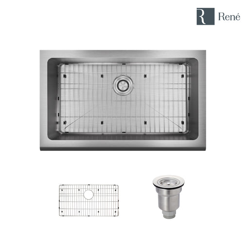 R1-3001-18 Single Bowl Stainless Steel Apron Kitchen Sink in 18-Gauge with Grid and Basket Strainer