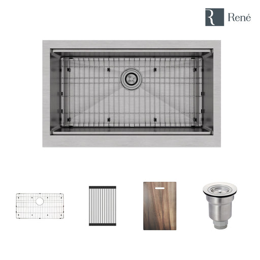 R1-3001-Evolv Single Bowl Stainless Steel Kitchen Sink in 18-Gauge with Rolling Grid, Cutting Board, Bottom Grid, and Basket Strainer
