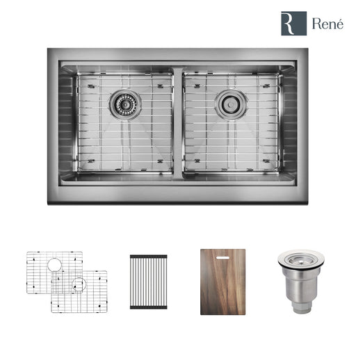 R1-3002-Evolv Double Bowl Stainless Steel Kitchen Sink in 18-Gauge with 2 Grids, Rolling Grid, Cutting Board, Standard Strainer and Basket Strainer