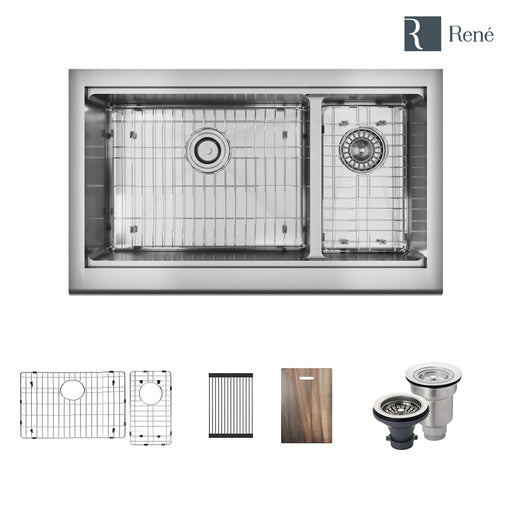 R1-3003-Evolv Double Offset Bowl Stainless Steel Kitchen Sink in 18-Gauge with 2 Grids Rolling Grid Cutting Board Standard Strainer and Basket Strainer