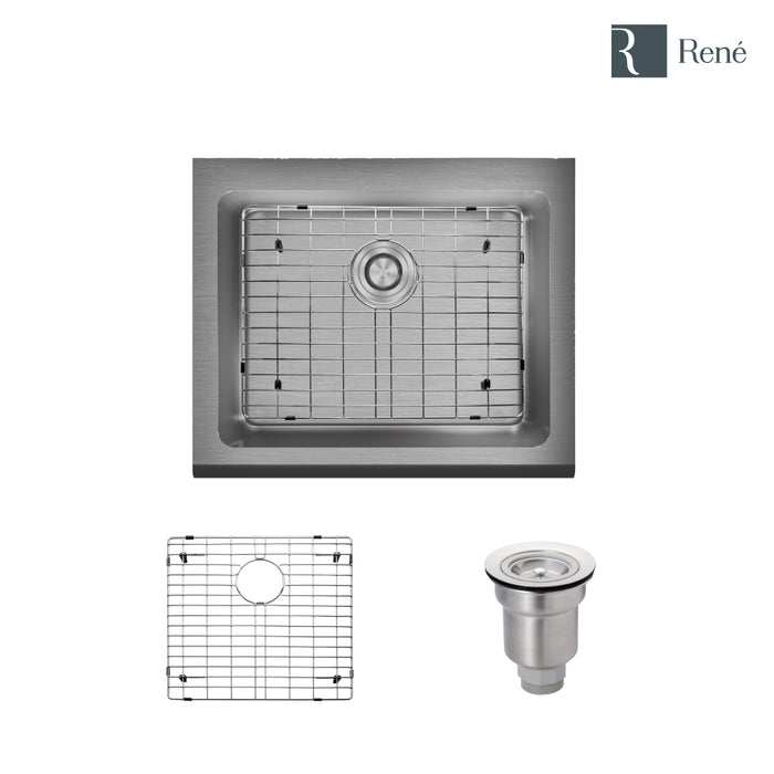 R1-3004-16 Single Bowl Stainless Steel Apron Kitchen Sink in 16-Gauge with Grid and Basket Strainer-DirectSinks