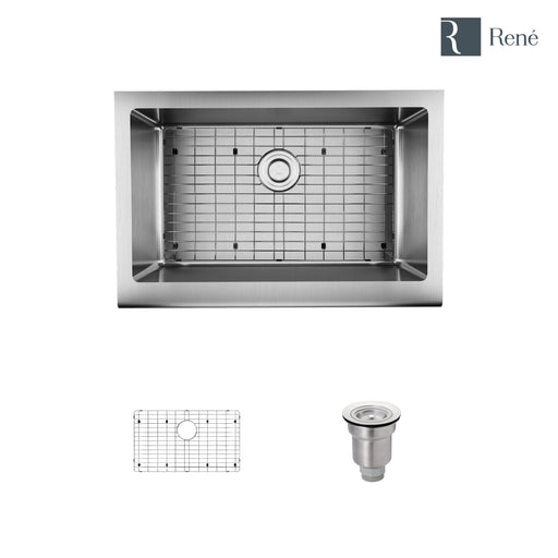 R1-3005-16 Single Bowl Stainless Steel Apron Kitchen Sink in 18-Gauge with Grid and Basket Strainer