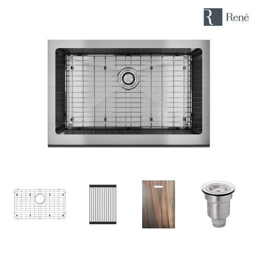 R1-3005-Evolv Single Bowl Stainless Steel Kitchen Sink in 18-Gauge with Rolling Grid, Cutting Board, Bottom Grid, and Basket Strainer