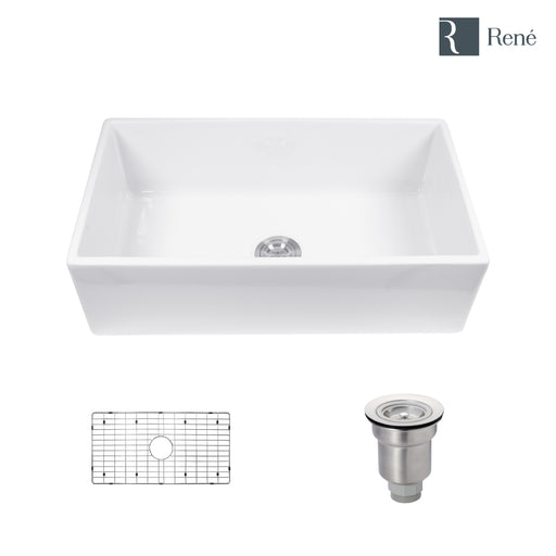 Rene R10-3001 Single Bowl Fireclay Apron Front Sink with Grid and Basket Strainer