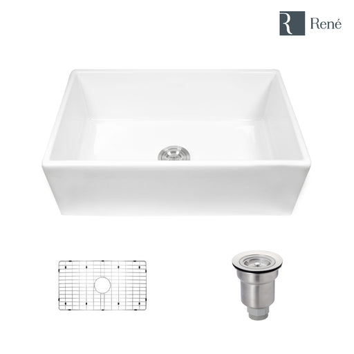 Rene R10-3002 Single Bowl Fireclay Apron Front Sink with Grid and Basket Strainer